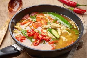 zuppa di pollo piccante appena cucinata foto