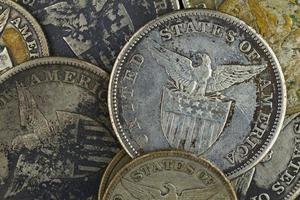 vecchie monete d'argento foto