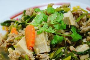 tofu fritto con carne di maiale tritata foto