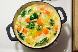 zuppa di pasta di pollo in forno olandese foto