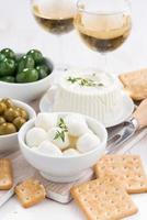 formaggi a pasta molle, cracker e sottaceti per vino, verticale, vista dall'alto foto