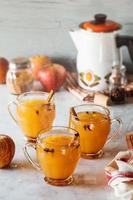 sidro di mele speziato caldo speziato con cannella e chiodi di garofano foto