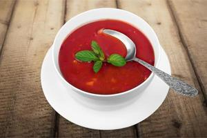 zuppa, zuppa di pomodoro, ciotola foto