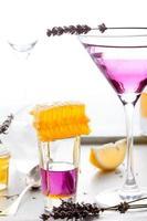 martini, lavanda, miele, limone cocktail su uno sfondo bianco. vermut. foto