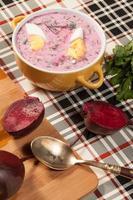 zuppa di barbabietole fredda. foto