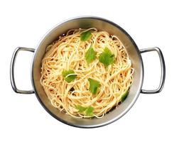 spaghetti in uno scolapasta foto