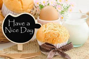 buona giornata e buona colazione. foto
