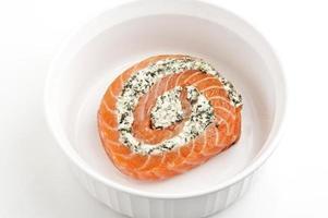 girandola di spinaci e salmone feta foto