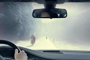 motociclismo invernale foto