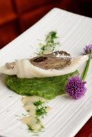 filetto di pesce di john dory su purea di spinaci foto