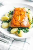 salmone grigliato con gnocchi e verdure foto