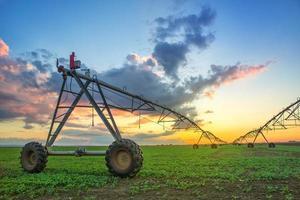 sistema di irrigazione agricolo automatizzato nel tramonto foto