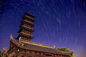 villaggio acquatico wuzhen con tracce di stelle in Cina