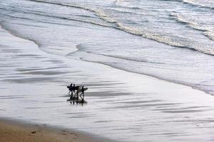 ragazze che entrano in acqua con tavole da surf foto