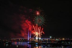 fuochi d'artificio invernali docklands foto