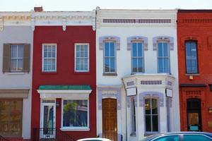 facciate del quartiere storico di georgetown, washington foto