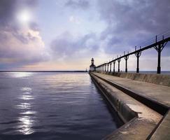 il faro di pierhead orientale della città del Michigan
