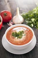 deliziosa zuppa di pomodoro con spezie aromatiche foto