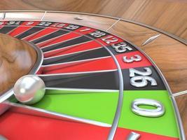 vista a macroistruzione di una tabella di roulette. zero verde. Rendering 3D foto