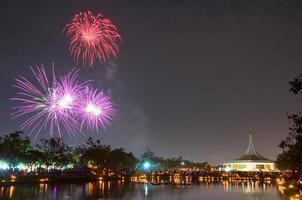 Fuochi d'artificio a Suan Luang Rama IX, Bangkok foto