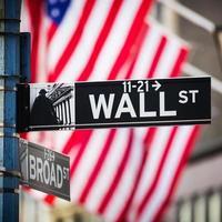 Wall Street Sign, New York City, Stati Uniti d'America foto