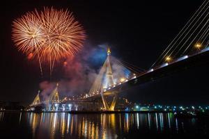 fuochi d'artificio vivono il re bkk thailandia foto