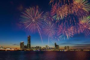 Festival dei fuochi d'artificio nella città di Seoul, Corea del Sud. foto