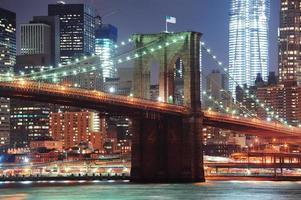 primo piano del ponte di New York City Brooklyn foto