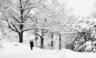 camminatore solitario su Margaret Corbin Drive