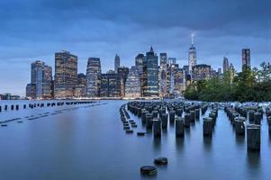 panorama del distretto finacial di New York City Manhattan foto
