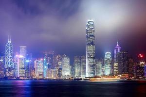 orizzonte della città di notte di Hong Kong foto