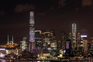 notte di paesaggio urbano tsim sha tsui hong kong foto