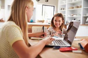 sorelle che trascorrono del tempo insieme ai computer a casa foto