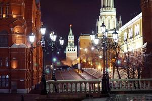 piazza rossa, notte del Cremlino di Mosca foto