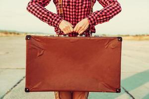 valigia vintage, copia-spazio foto