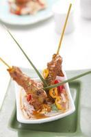 pollo satay con salsa di arachidi foto