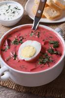 zuppa fredda di barbabietole con uovo ed erbe closeup. verticale foto