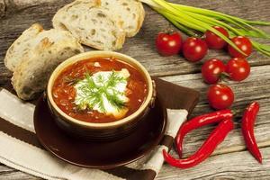 zuppa di barbabietola con aglio e panna acida