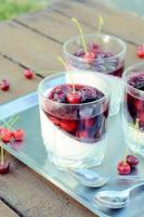gelatina di panna cotta e ciliegie