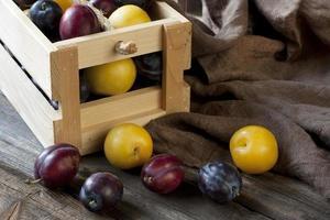 prugne fresche succose su fondo di legno scuro foto