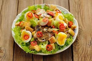 insalata di Cesare con funghi, uova, peperoncino e ravanello su legno