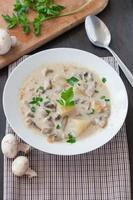 piatto di zuppa di funghi vegetariana foto