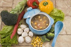 zuppa di mais e mashroom foto