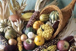 cornucopia di frutti decorativi autunnali foto