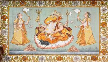 Dio Ganesha nell'affresco all'aperto indiano foto