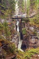 ponte sul fiume di montagna foto