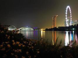 skyline notturno di Singapore
