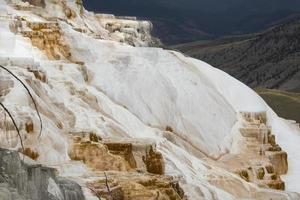 roccia carbonatica a cascata con valle sottostante a mammut hot spring