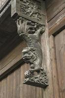 vecchia scultura di foo lion in Cina