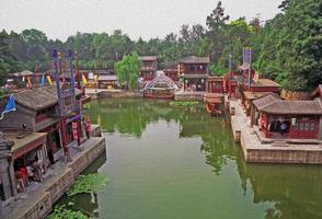 frammento del complesso del palazzo estivo, Pechino, Cina, pittura ad olio foto